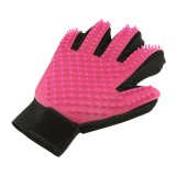 Right Hand Five Finger Deshedding Brush Glove Pet Gentle Efficient Massage Grooming (Pink)