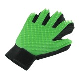 Right Hand Five Finger Deshedding Brush Glove Pet Gentle Efficient Massage Grooming (Green)