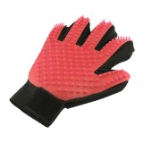 Right Hand Five Finger Deshedding Brush Glove Pet Gentle Efficient Massage Grooming (Red)