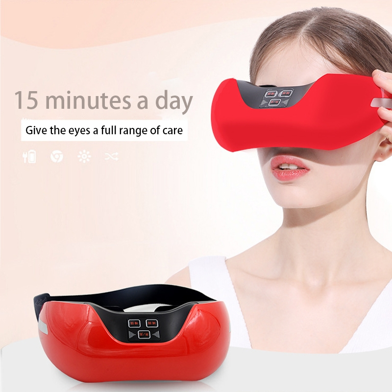 Ifan-918 3D Green Light Training Simulated Acupuncture Eye Massager, Support USB Charging (Red)