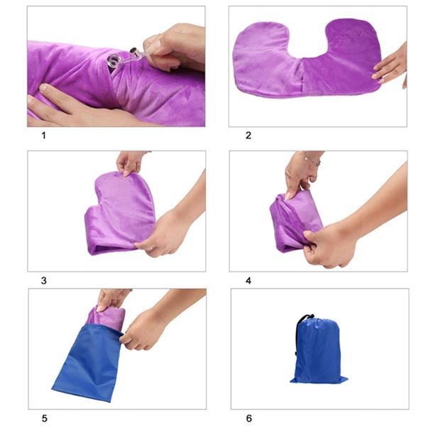 Air Inflatable U-Shaped Travel Neck Pillow Cushion (Purple)