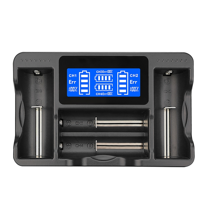 YS-4 Universal 18650 26650 Smart LCD Four Battery Charger with Micro USB Output for 18490 / 18350 / 17670 / 17500 / 16340 RCR123 / 14500 / 10440 / A / AA / AAA