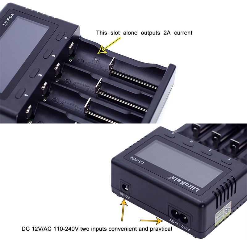LiitoKala Lii-PD4 Nickel-hydrogen Battery Charger for Li-ion / IMR LiFePO4 26650, 21700, 20700, 18650, 18490, 18350, 17670, 17500, 16340 (RCR123), 14500, 10440