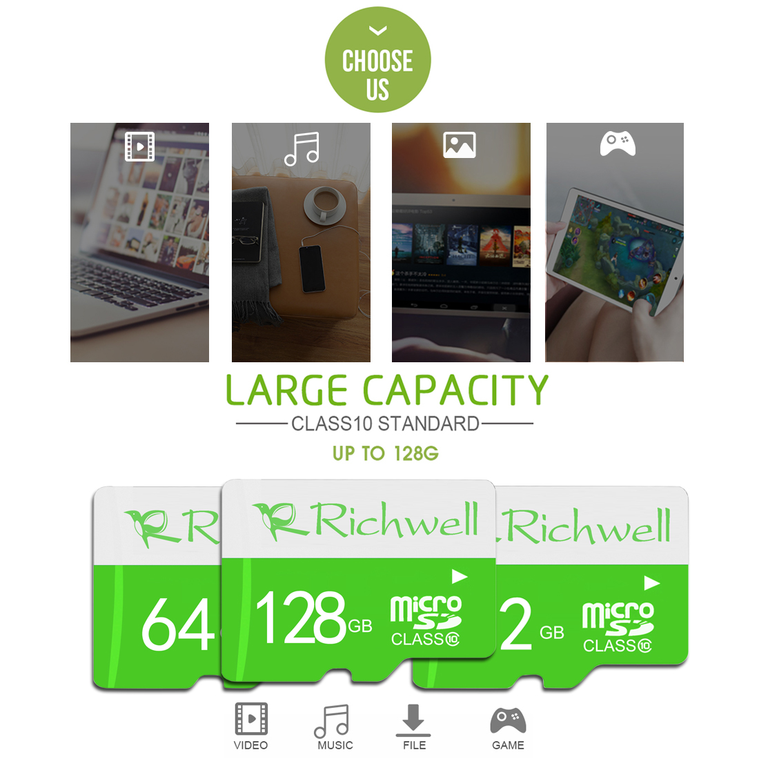 Richwell 16GB High Speed Class 10 Micro SD (TF) Memory Card
