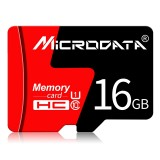 MICRODATA 16GB U1 Red and Black TF (Micro SD) Memory Card