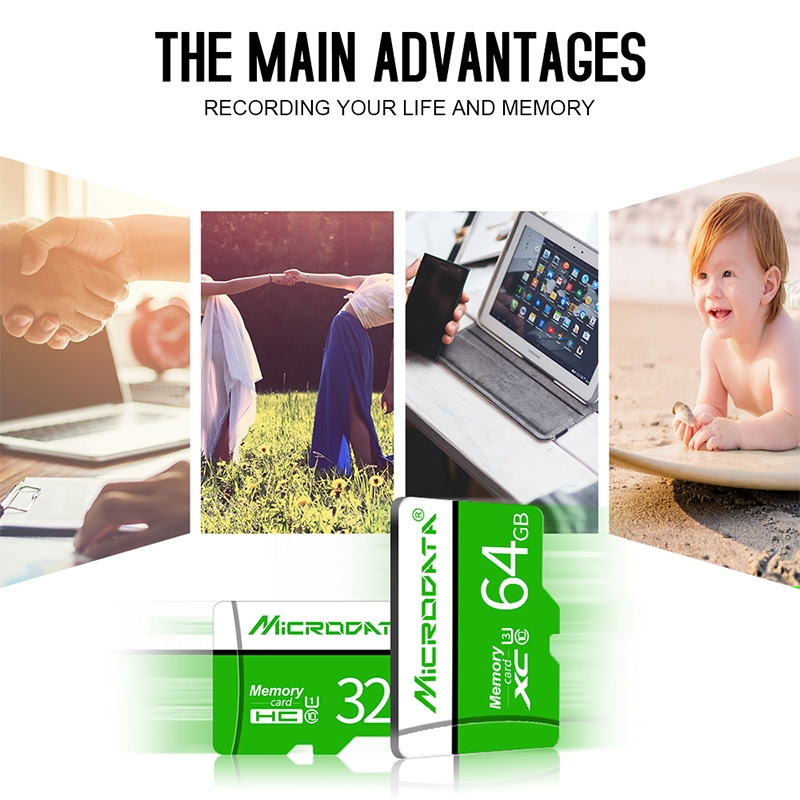 MICRODATA 32GB U1 Green and White TF (Micro SD) Memory Card