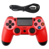 Snowflake Button Wired Gamepad Game Handle Controller for PS4 (Red)