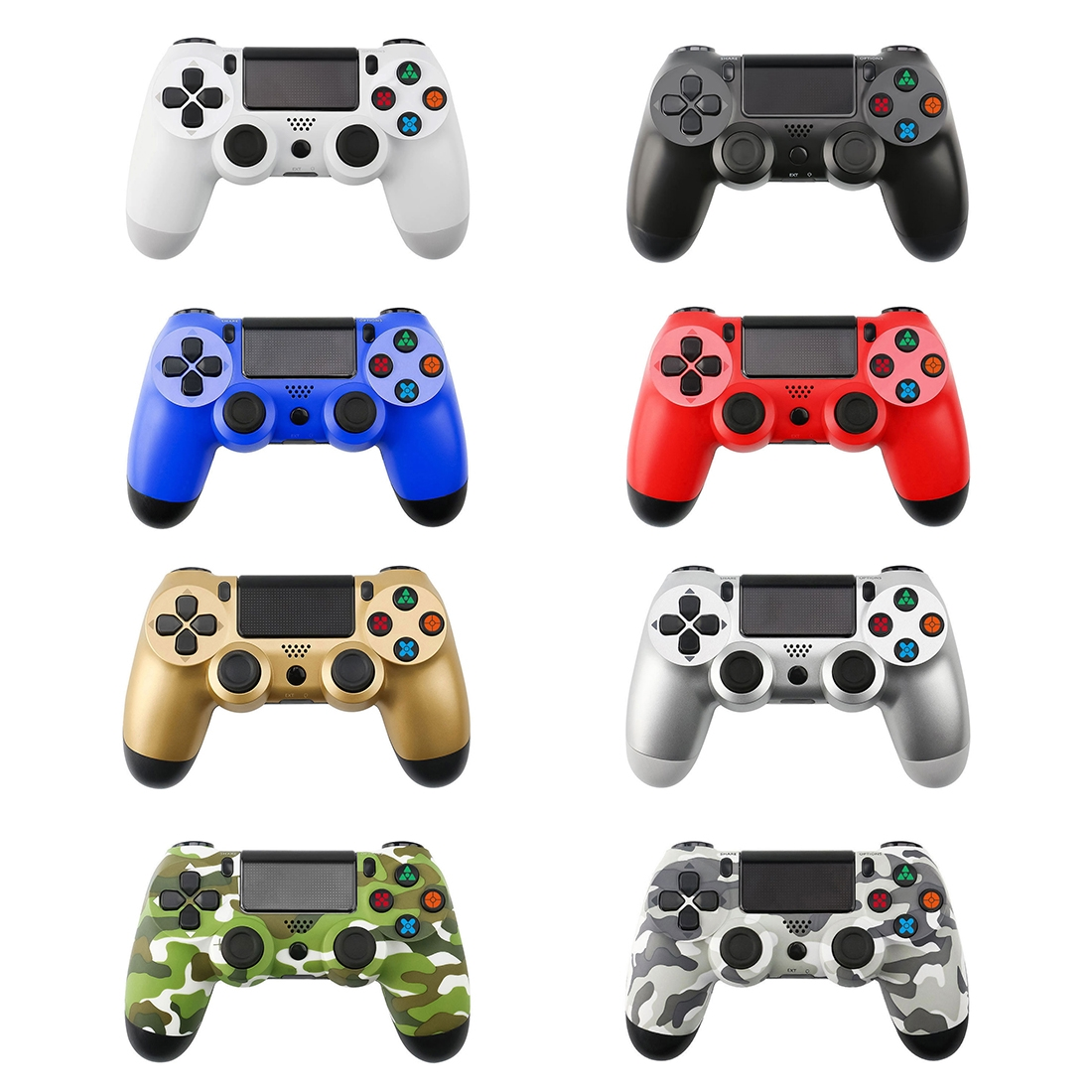 Green Camouflage Snowflake Button Wired Gamepad Game Handle Controller for PS4
