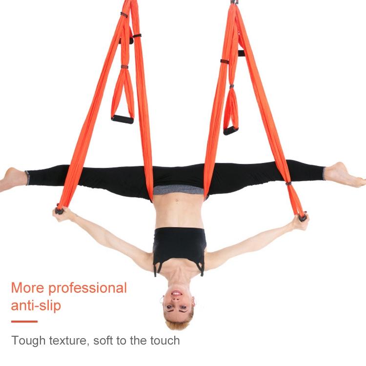 6 Handles Bodybuilding Handstand Inelasticity Aerial Yoga Hammock (Blue Green)