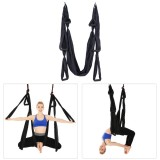 6 Handles Bodybuilding Handstand Inelasticity Aerial Yoga Hammock (Black)
