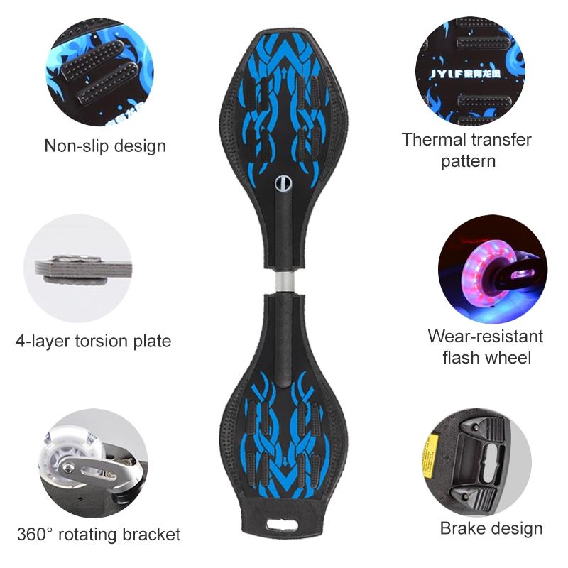Fashion Rocket Pattern Two-wheeled Skateboard Luminous Flash Wheel Vitality Board (Blue)