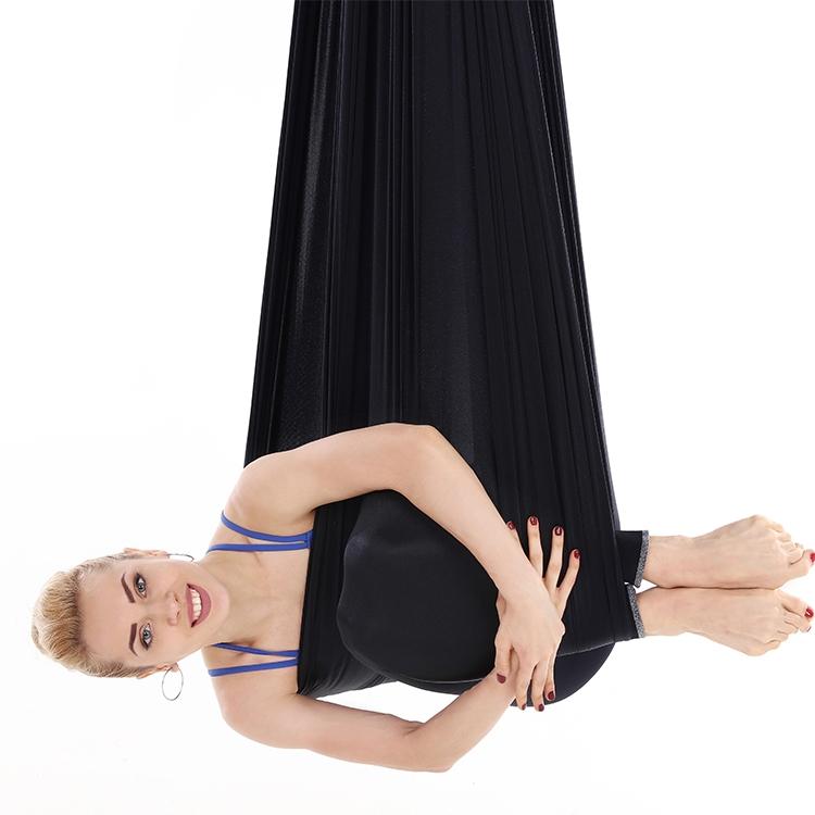 Household Handstand Elastic Stretching Rope Aerial Yoga Hammock Set (Black)