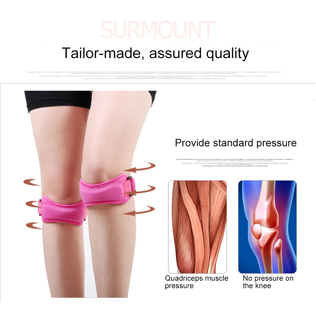 2 PCS SMD-0114 Outdoor Sport Knee Joint Protective Belt Anti-sprain Patellar Band (Black)