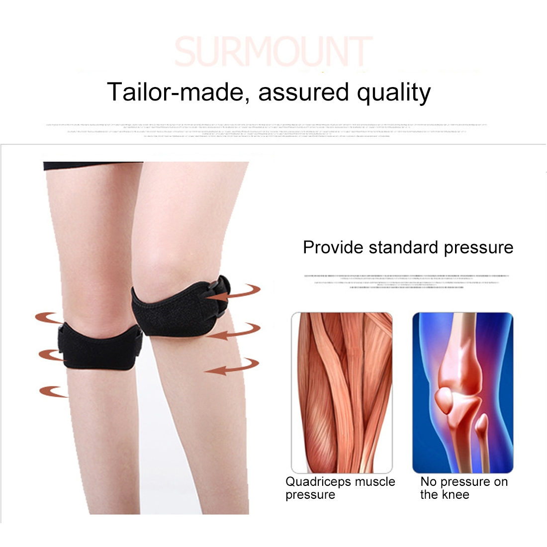 2 PCS SMD-0115 Outdoor Sport Shock Absorption Breathable Knee Protector Riding Silicone Patellar Belt (Black)