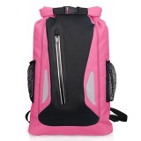 Outdoor Waterproof Dry Dual Shoulder Strap Bag Dry Sack PVC Barrel Bag, Capacity: 25L (Pink)