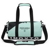 IX LK8074 Alphabet Printing Cylinder Shape Bottom Waterproof One-shoulder Portable Yoga Travel Bag for Men / Women, Size: 40x24x24cm (Green)