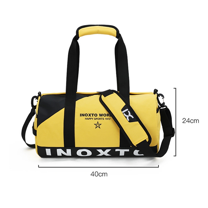 IX LK8074 Alphabet Printing Cylinder Shape Bottom Waterproof One-shoulder Portable Yoga Travel Bag for Men / Women, Size: 40x24x24cm (Khaki)