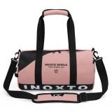 IX LK8074 Alphabet Printing Cylinder Shape Bottom Waterproof One-shoulder Portable Yoga Travel Bag for Men / Women, Size: 40x24x24cm (Light Pink)