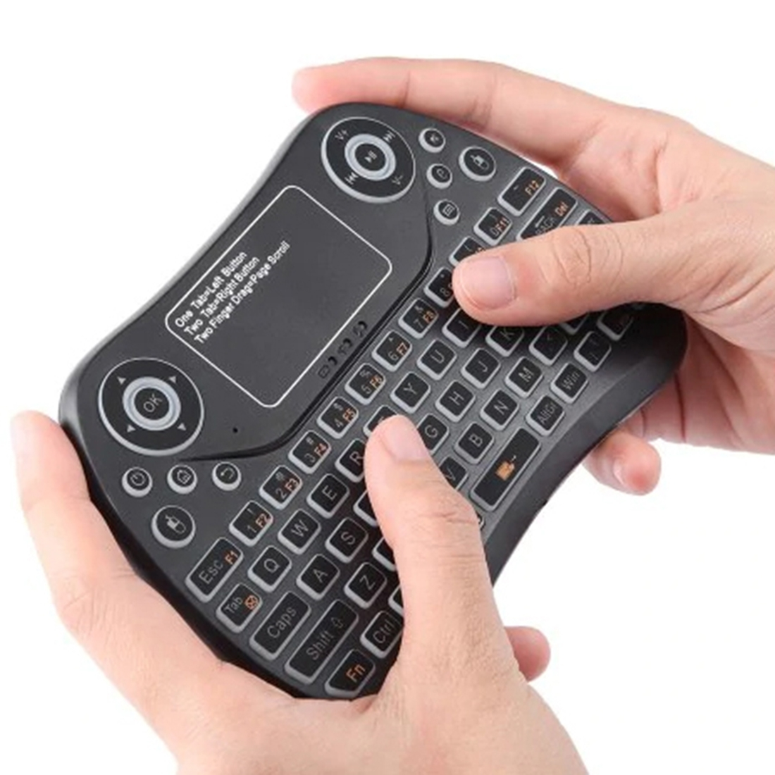 Calvas English Russian Spanish Hebrew MINI Keyboard 2.4G USB Wireless Touchpad /& Air Mouse Remote Control for Android Windows TV Box Color: English