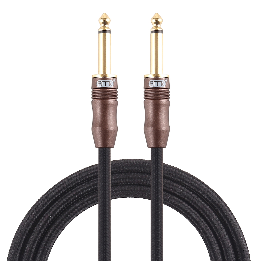 EMK 6.35mm Male to Male 3 Section Gold-plated Plug Cotton Braided Audio Cable for Guitar Amplifier Mixer, Length: 1.5m (Black)