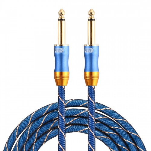 EMK 6.35mm Male to Male 3 Section Gold-plated Plug Grid Nylon Braided Audio Cable for Speaker Amplifier Mixer, Length: 1.5m (Blue)