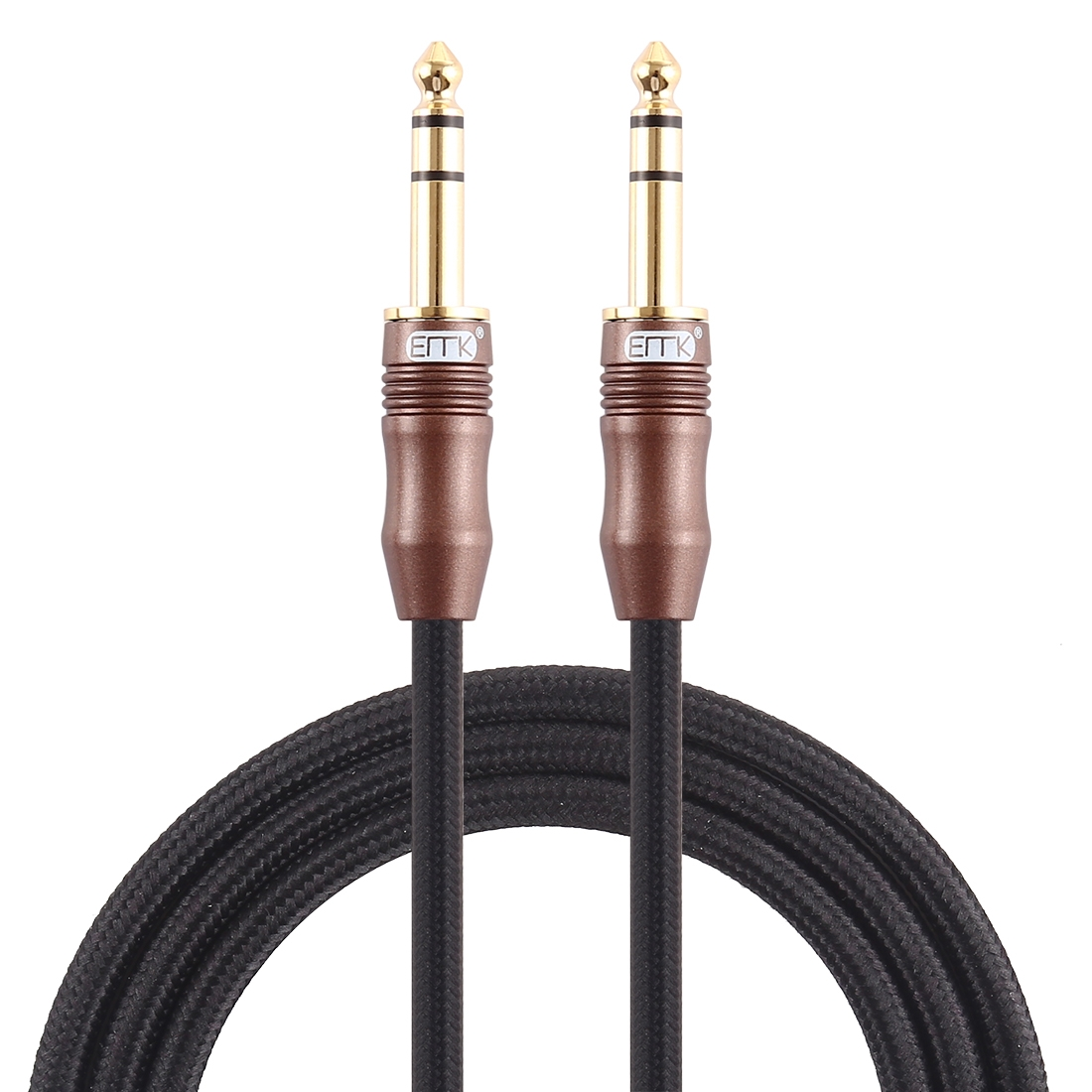 EMK 6.35mm Male to Male 4 Section Gold-plated Plug Cotton Braided Audio Cable for Guitar Amplifier Mixer, Length: 2m (Black)