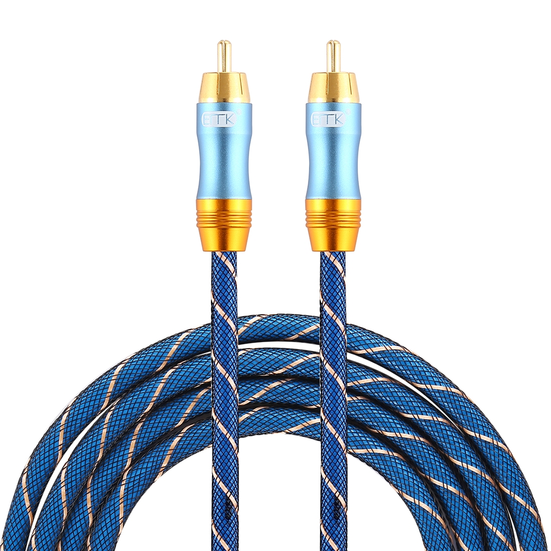 EMK 8mm RCA Male to 6mm RCA Male Gold-plated Plug Grid Nylon Braided Audio Coaxial Cable for Speaker Amplifier Mixer, Length: 2m (Blue)