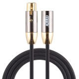 EMK XLR Male to Female Gold-plated Plug Cotton Braided Cannon Audio Cable for XLR Jack Devices, Length: 1m (Black)