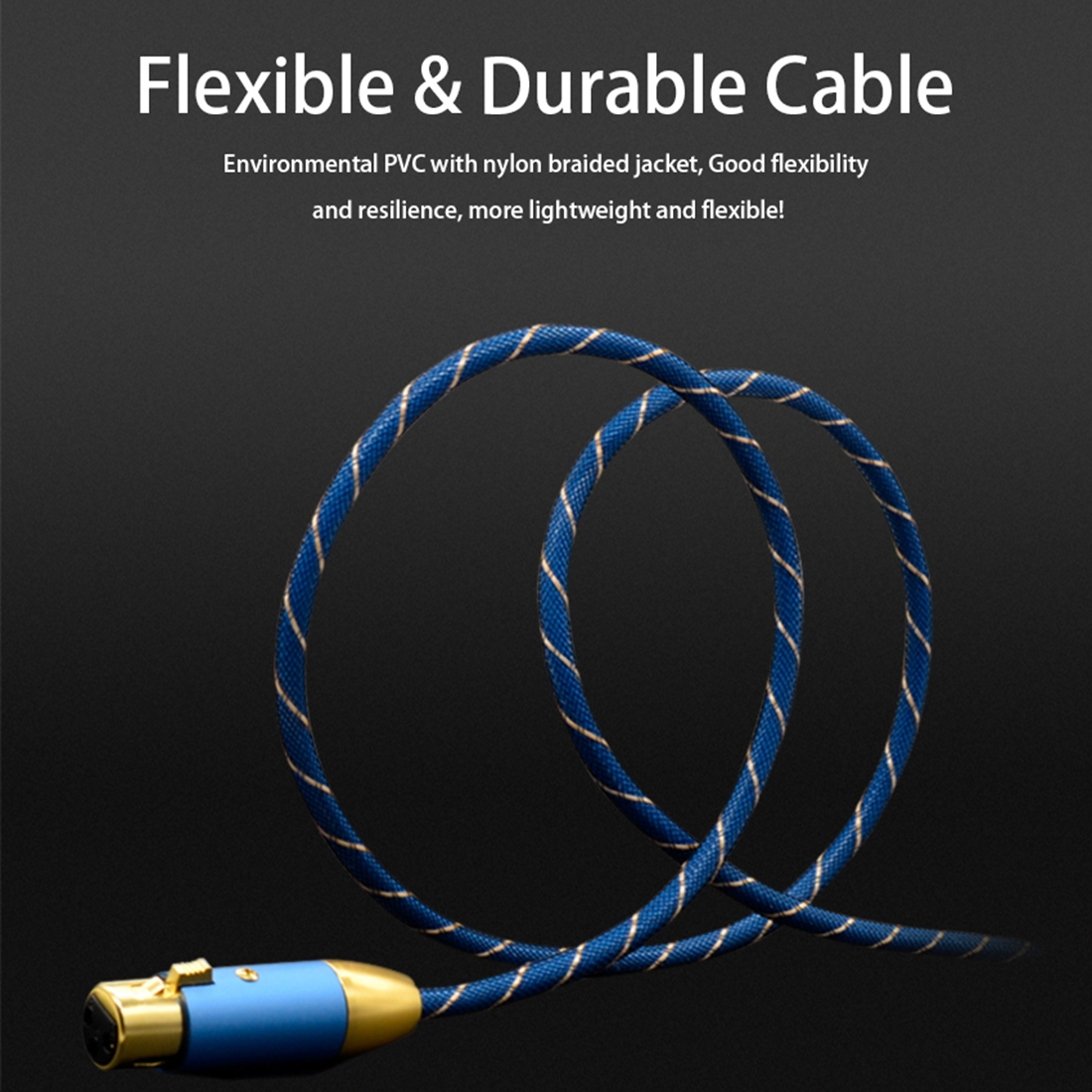 EMK XLR Male to Female Gold-plated Plug Grid Nylon Braided Cannon Audio Cable for XLR Jack Devices, Length: 2m (Blue)