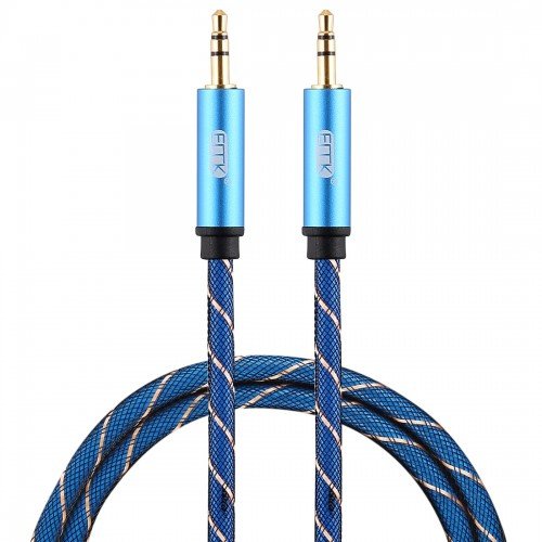 EMK 3.5mm Male to Male Grid Nylon Braided Audio Cable for Speaker / Notebooks / Headphone, Length: 0.5m (Blue)