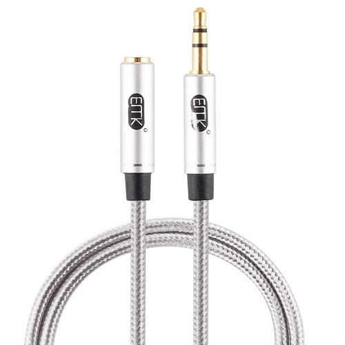 EMK 3.5mm Male to Female Gold-plated Plug Cotton Braided Audio Cable for Speaker / Notebooks / Headphone, Length: 0.5m (Grey)