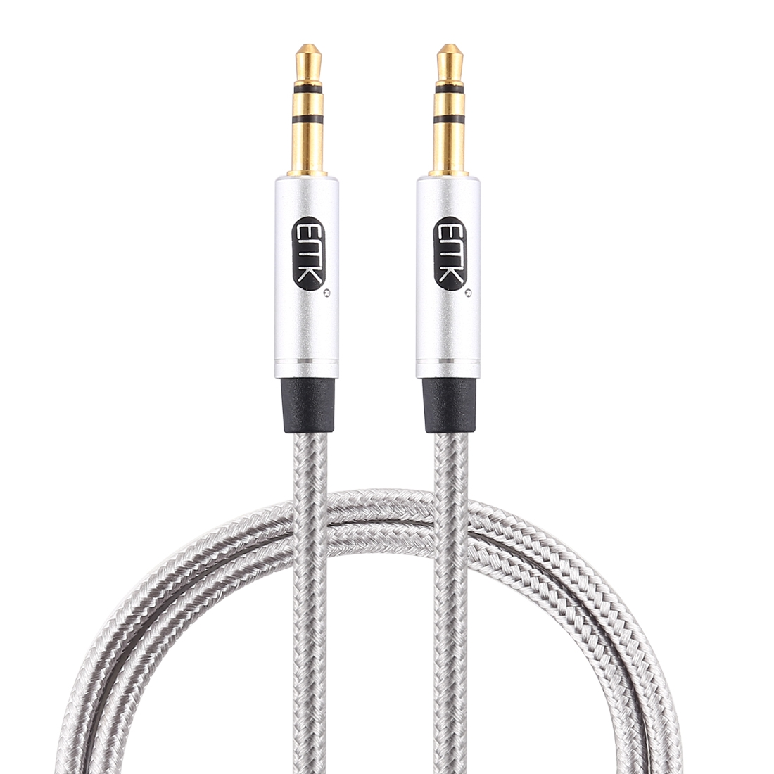 EMK 3.5mm Male to Male Gold-plated Plug Cotton Braided Audio Cable for Speaker / Notebooks / Headphone, Length: 1m (Grey)