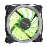 Color LED 12cm 3pin Computer Components Chassis Fan Computer Host Cooling Fan Silent Fan Cooling, with Power Connection Cable & Green Light (Green)