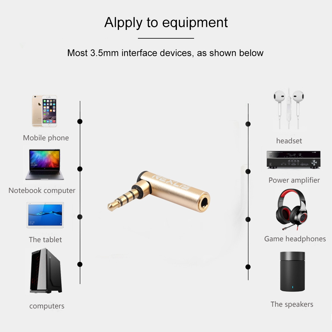 REXLIS BK3567 3.5mm Male + 3.5mm Female L-shaped 90 Degree Elbow Gold-plated Plug Gold Audio Interface Extension Adapter for 3.5mm Interface Devices, Support Earphones with Microphone