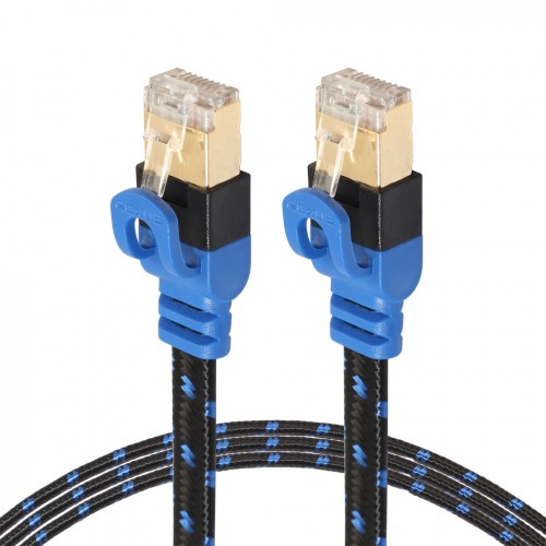 REXLIS CAT7-2 Gold-plated CAT7 Flat Ethernet 10 Gigabit Two-color Braided Network LAN Cable for Modem Router LAN Network, with Shielded RJ45 Connectors, Length: 1m