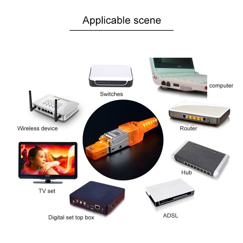 Color : Orange STP Cat.6a Gigabit Shielding Premium Material Tool-Free Assembly RJ-45 Connector Modular Plug