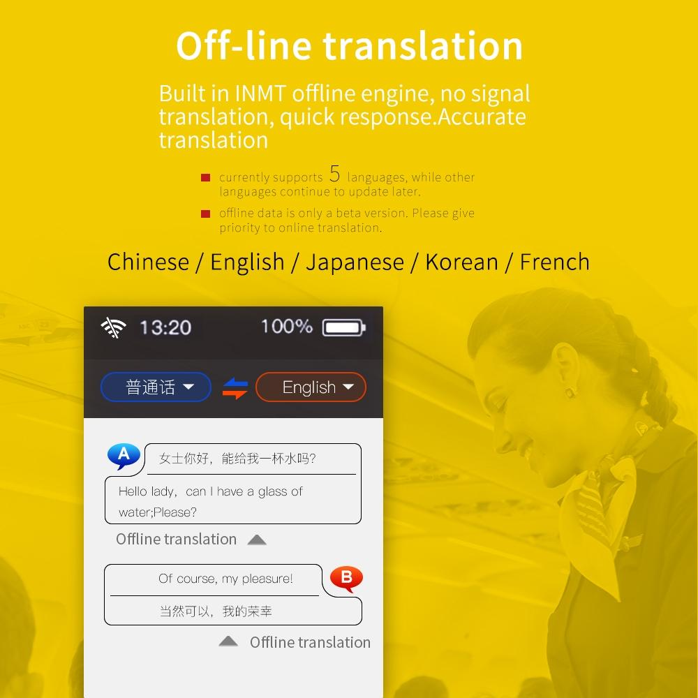 Boeleo K1 (BF07) Pro 2 4inch Screen Voice Translator Smart Business Travel  AI Translation Machine 512GB+4GB 45 Languages Translator (Grey)