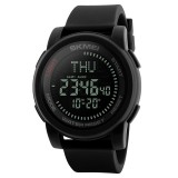 SKMEI 1289 Multifunctional Men Outdoor Sports 50m Waterproof Digital Watch with Compass & World Time Function (Black)