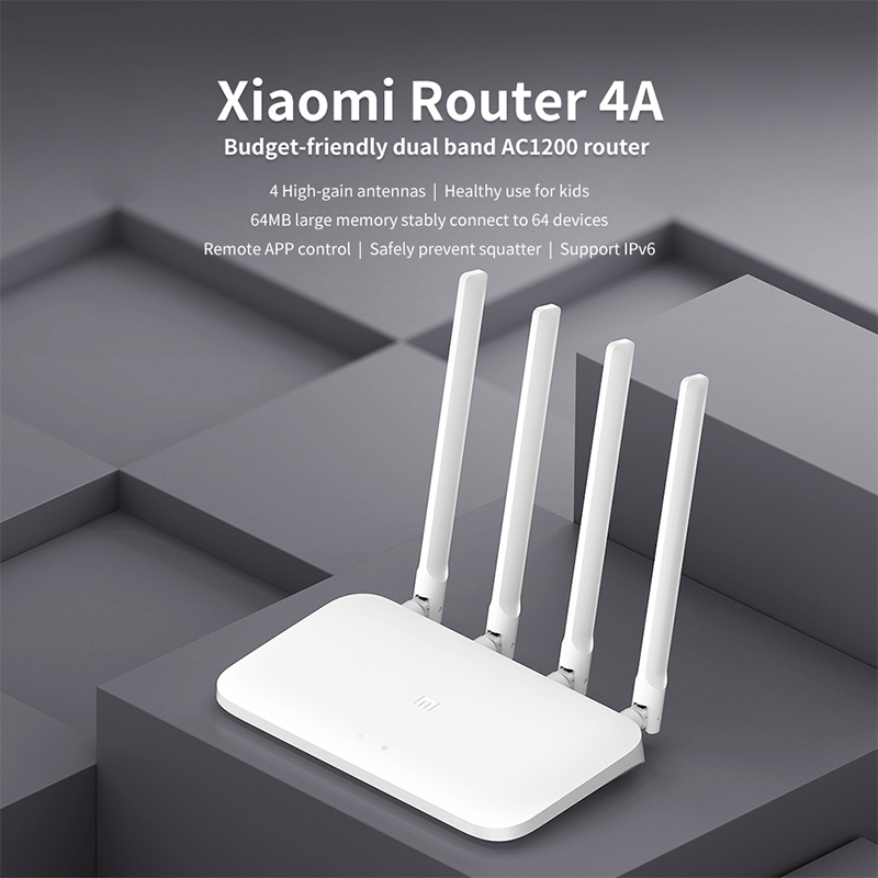 Xiaomi WiFi Router 4A Smart APP Control AC1200 1167Mbps 64MB 2 4GHz & 5GHz  Wireless Router Repeater with 4 Antennas, Support Web & Android & iOS, US