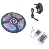 YWXLight UK Plug 5M 300 LEDs SMD 2835 Waterproof RGB LED Light Bar Strip 24Key Remote Control