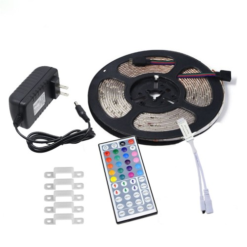 YWXLLight US Plug 5M 2835 SMD Waterproof Light With 44 Key Remote Control Plug Accessories RGB LED Light Strip