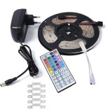 YWXLLight EU Plug 5M 2835 SMD Waterproof Light With 44 Key Remote Control Plug Accessories RGB LED Light Strip