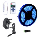 YWXLLight Dimmable Light Strip Kit, SMD 2835 5m LED Ribbon, Waterproof for Indoor, 11key Remote Control LED Strip Lamp 300LEDs UK Plug (Blue)