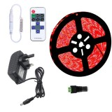 YWXLLight Dimmable Light Strip Kit, SMD 2835 5m LED Ribbon, Waterproof for Indoor, 11key Remote Control LED Strip Lamp 300LEDs UK Plug (Red)