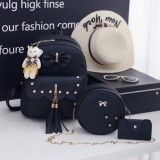 3 in 1 Tassels Bow Double Shoulders School Bag Travel Backpack Bag with Bear Doll Pendant (Black)