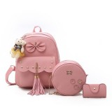 3 in 1 Tassels Bow Double Shoulders School Bag Travel Backpack Bag with Bear Doll Pendant (Pink)