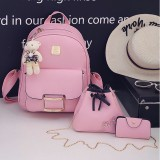 3 in 1 PU Leather Double Shoulders School Bag Travel Backpack Bag with Bear Doll Pendant (Pink)