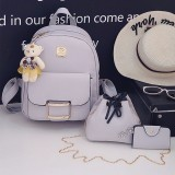 3 in 1 PU Leather Double Shoulders School Bag Travel Backpack Bag with Bear Doll Pendant (Grey)