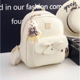 3 in 1 Bow PU Leather Double Shoulders School Bag Travel Backpack Bag with Bear Doll Pendant (Grey)