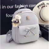 3 in 1 Bow PU Leather Double Shoulders School Bag Travel Backpack Bag with Bear Doll Pendant (Beige)